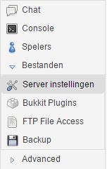 Multicraft: Bestanden -> Server instellingen
